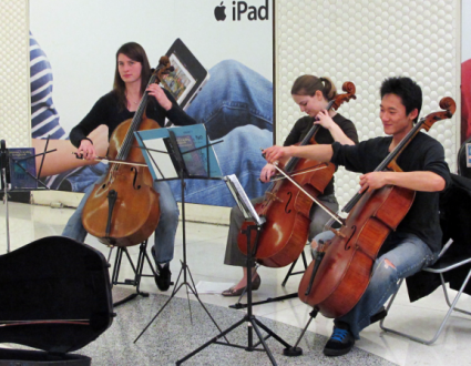 image presenting cellists, in a web page related to music research, music technology and the YMusic search engine