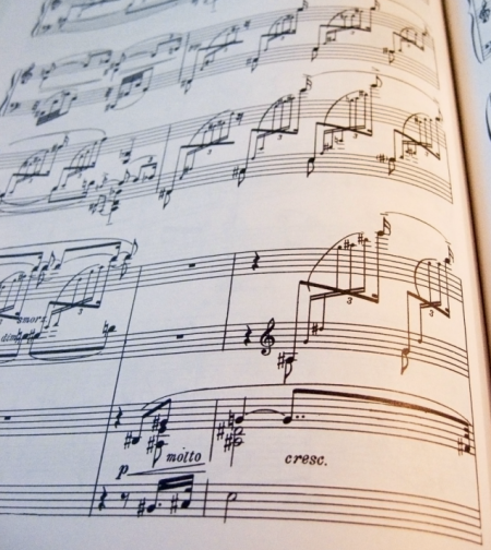 image presenting a sheet music, in a web page related to music research, music technology and the YMusic search engine