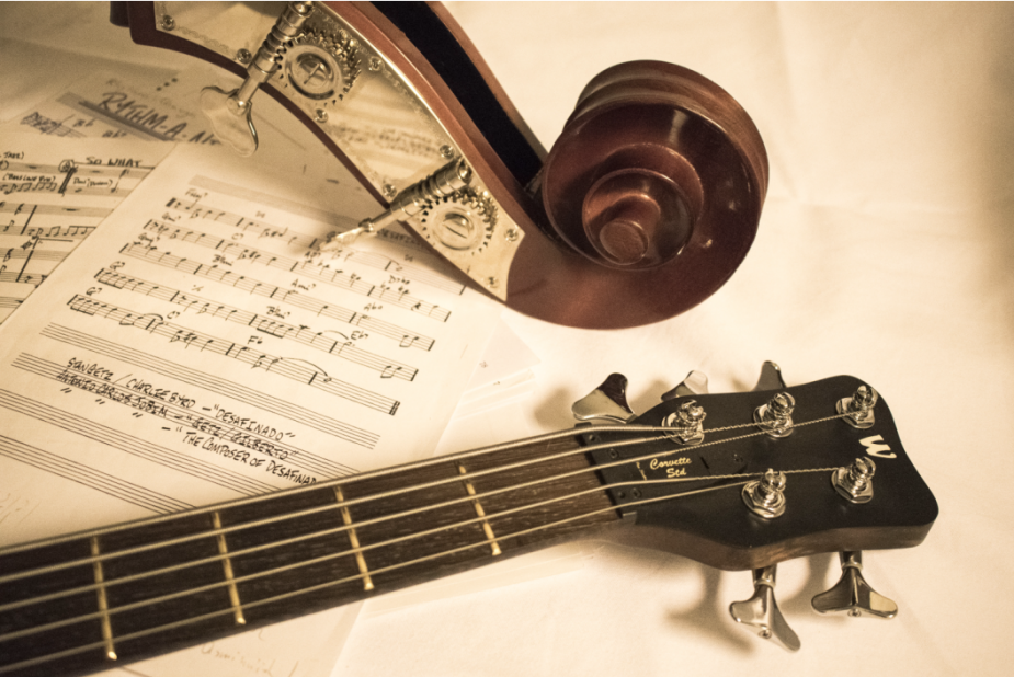 image representing a sheet music and strings instruments, in a web page related to music research, music technology and the YMusic search engine