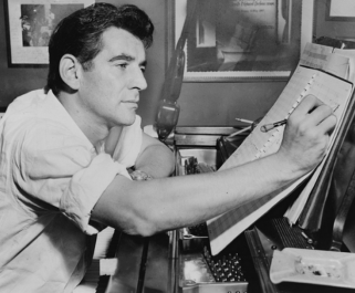 public domain photo of music composer Leonard Bernstein, in a web page related to music research, music technology and the YMusic search engine
