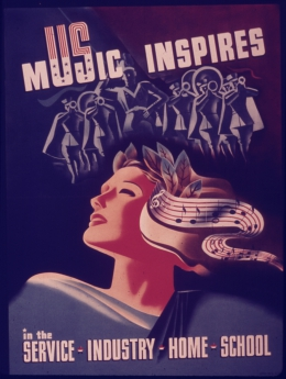 image presenting a vintage music poster, in a web page related to music research, music technology and the YMusic search engine
