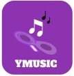 logo containing a magnifying glass, data symbols and the mention 'YMusic'